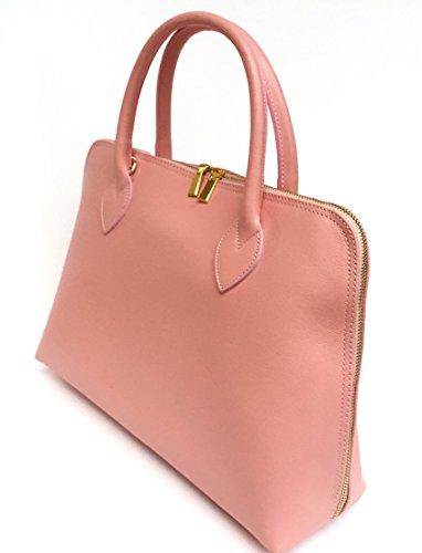 SUPERFLYBAGS Damen handtasche model Circ in Echtem Leder Saffian Made in Italy A4 format Rose