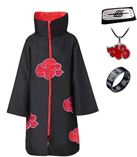 Imcneal Anime Naruto Akatsuki/Uchiha Itachi Cosplay Halloween Weihnachten Party Kostüm Umhang Umhang mit Stirnband Halskette Ring - Schwarz - Medium (Akatsuki Pein Kostüm)