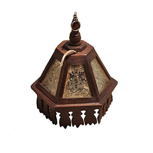Yisaesa Vintage massivholz pendelleuchten kronleuchter Reine Hand-Cut Muster Carving kreative Restaurant bar Dekoration Lampe Gang Balkon hängenden pendelleuchte (Farbe : -, Größe : -) (Glas-deckenleuchte Cut)
