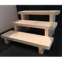 CHUNKY FUNKY DESIGNS RUSTIC WOODEN 3 STEP DISPLAY STAND RETAIL DISPLAY SOLID PINE 30CM WIDE