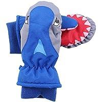 Ablerfly - Guantes de esquí, Color Rojo, Azul, Gris, para niños con Tiburones de Dibujos Animados, Impermeables, Transpirables, para esquí, Snowboard Gris Gris