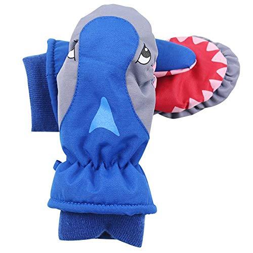 Ablerfly Ski-Handschuhe, Rot, Blau, Grau, Kinder, Cartoon-Haie, zum Spielen und Skifahren, wasserfest, süßer Winter, warm, wasserdicht, atmungsaktiv, für Kinder Skifahren und Snowboarden grau