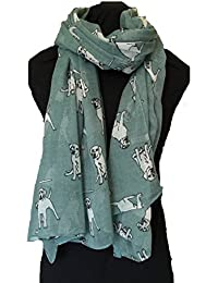 Aqua green sketched Labrador dog design scarf. Lovely long ladies scarf
