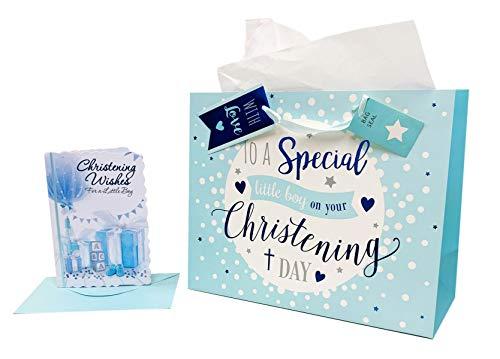 utel Baby Jungen, Geschenk zur Taufe, Karte, mit Seidenpapier und Geschenkverpackung ()