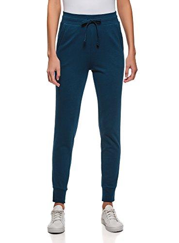 oodji Ultra Mujer Pantalones de Punto con Cordones, Azul, ES 40 /...