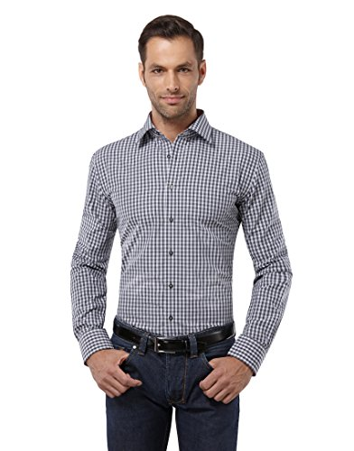 Embraer camicia uomo eleganti, taglio aderente/slim-fit, collo classico, manica lunga, a quadri con inserti in contrasto grigio scuro 39/40