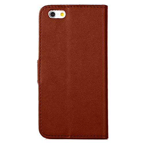 eximmobile–Book Case Housse + Char Verre d'écran pour Apple iPhone   Housse de protection dans 11couleurs avec compartiments à cartes en cuir PU Housse étui   Char Protection d'écran en verre film  marron
