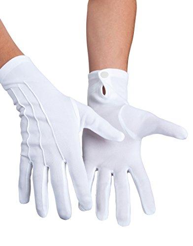 Boland 03080 - Handschuhe Basic mit Druckknopf, Einheitsgröße, weiß