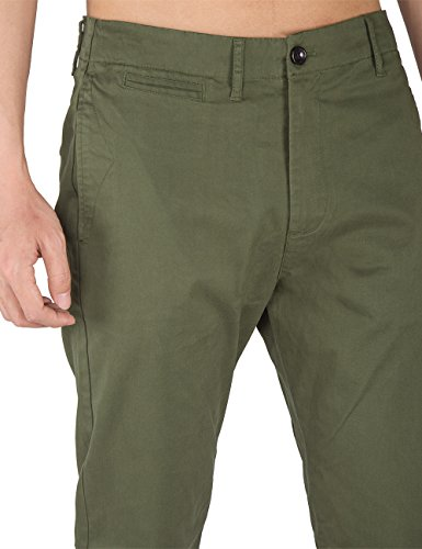 THE AWOKEN Herren Chino Business Hosen Casual Hose Slim Fit Stoffhose Freizeithose Armeegrün