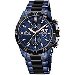 Lotus Marc Marquez 2015 Limited Edition Men's Quartz Watch with Blue Dial Chronograph Display and Two Tone Stainless Steel Plated Bracelet 18230/1