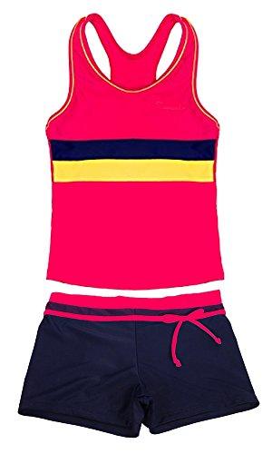 SWISSWELL Mädchen Bikini Bademode 2-teilig Sport UV-Schutz Badeset Badeanzug Set 3 Stripes Badeshirt und Badeshorts für 6-7 Jahren Rot