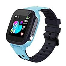 Kids Smart Watch Phone LBS Tracker Voice Chat SOS Two-Way Call Watch Touch Screen Camera Smart Watch for 3-12 Years Old Boys Girls Fashion Christmas Birthday (Blue)