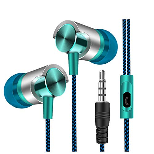 Dorical In Ear Kopfhörer, Headset Sport Ohrhörer Schweißresistent Stereo Eingebautes Mikrofon für iPhone, Huawei und Samsung Ohrhörer Headset Promo(Blau,One Size)