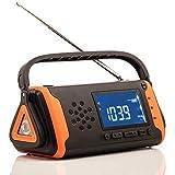 Radio di Emergenza con Allarme Meteorologico NOAA, Manovella E Energia Solare, Radio di Sopravvivenza AM FM con Torcia E Allarme SOS