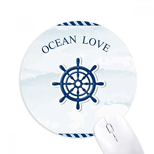 DIYthinker Rudder Ozean-Liebe Meer Segeln Blau Runde Griffige Gummi Mousepad Spiel Büro Mauspad Geschenk