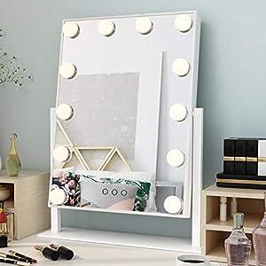 Ovonni Schminkspiegel mit 12 Beleuchtung LED Licht Spiegel Beleuchtet für Make-up 360° Drehbar Kosmetikspiegel Wohnzimmer Weiß