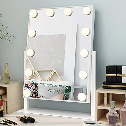 Ovonni Miroir de Maquillage Miroir de Table Lumineux LED Miroir de courtoisie éclairé avec 12 Ampoules LED réglable et Design Touch Ecran intregré, Style Hollywood, Modes de 3 Couleurs, Blanc