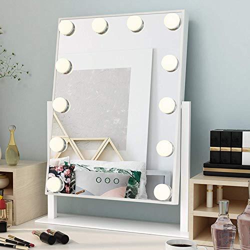 Ovonni hollywood specchio per trucco con 12 luci girevole a 360 °, specchio per trucco specchio a luce led illuminato, 3 modalità di colore, bianco