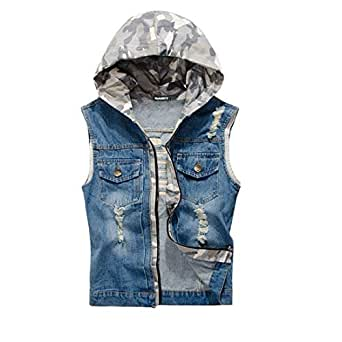 2e77a5dbf29 NASKY Mens Fit Retro Ripped Demin Jeans Gilets Camouflage Hooded Jacket  Vest Waistcoat Top Vest (