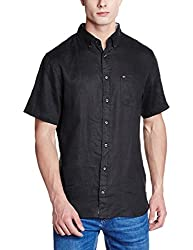 Tommy Hilfiger Mens Casual Shirt (8903876831643_P6AMW066_Small_Black)