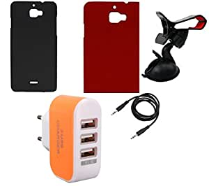 NIROSHA Cover Case Mobile Holder Charger for Micromax Canvas Nitro 2 - Combo