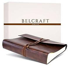 Idea Regalo - Belcraft Tivoli Album Fotografico in Pelle Riciclata, Album Portafoto, Scrapbook, Realizzato a Mano da Artigiani Toscani, Include Scatola Regalo, A4 (23x30 cm) Marrone