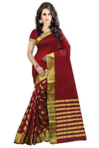 PerfectBlue Maroon Cotton Silk Women's Saree With Blouse Piece (Fbamaroongoli_Free Size)