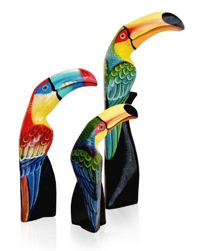 3 x Dekofigur Holzfigur Tukan im Set, Höhe 15 + 22 + 30 cm aus Holz bunt bemalt, handmade Kakadu Ara Papagei, handgeschnitzt und handbemalt (Papagei Kakadu Ara)