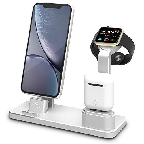 ATOPHK Aluminium Uhr Ladestation für AirPods Ladegerät Docks kompatibel für Apple Watch 4/3/2/1 / AirPods/iPhone xs max/xs/xr/X / 8/8 Plus / 7/7 Plus/iPad (101-Silber)