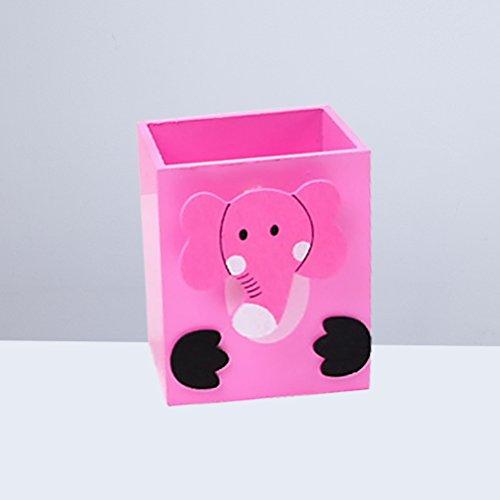 NUOLUX Schreibtisch Stift Bleistift Topflappen Cartoon Desktop Schreibwaren Speicherorganisator Zahnbürstenhalter für Home Office Schulgebrauch (Rosa Elefanten) (Rosa Becherhalter Bleistift)