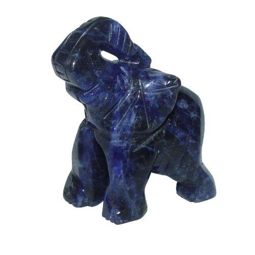 Sodalith Elefant ca. 30 x 43mm aus echtem Edelstein mit Rüssel nach oben Glücksbringer(3158)