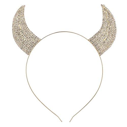 LUX Zubehör Gold Ton Faux Strass Teufel Horn Kostüm Katzenohren-Kopfband