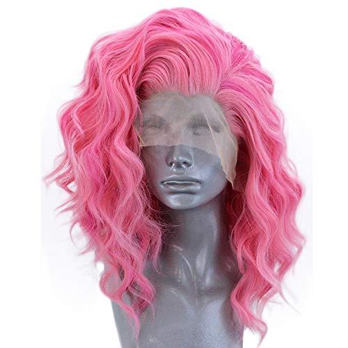 Pony Pink Sexy Kostüm - Muamaly Damen Perücke Lang Rosa Natürlich Afro Lace Front Wellen Lockig Synthetische Hitzebeständig Wig für Karneval Fasching Cosplay Party