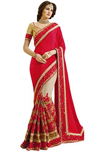 Nivah Fashion Women's Satin & Net Half N Half Embroidery Work Sari with Blouse Piece K663 (Red) (Satin-sari)