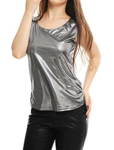 Allegra K Damen Slim Fit Ärmellos Halloween U Neck Metallic Tank Top Silber Grau S (EU 38)