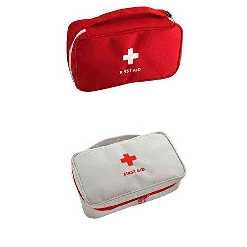 Lorsoul Tragbare Erste-Hilfe-Leere Aufbewahrungstasche für Reisen Sport Rot/Grau