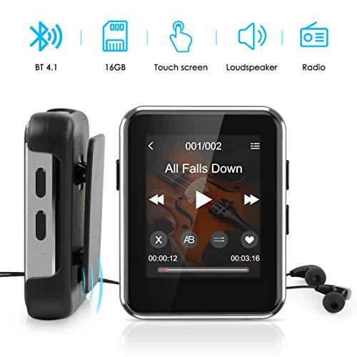 MP3 Player Bluetooth 4.1, Timoom Touchscreen 16GB Sport MP3-Player mit Clip und Kopfhörer, 18 Stunden Laufzeit, mit Lautsprecher, Radio, E-Book, Voice Recorder, Unterstützt bis 128 GB SD Karte