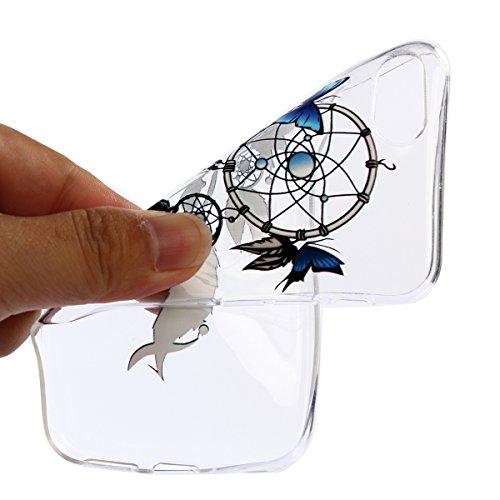 Cover iPhone 7 Plus in Silicone, iphone 7 Plus Custodia Apple Trasparente, Surakey Morbida e Sottile Clear Bumper Case in TPU Gel Gomma Silicone Con Lace Fiore Mandala Gatto Design Creativo Liscio Leg Acchiappasogni