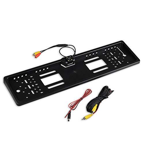 Kennzeichenhalter mit integrierter Rückfahrkamera - ideal zum Nachrüsten einer Kamera - Kennzeichen für hinten in schwarz - Kamera variabel einstellbar mit 4 LEDs zur besseren Ausleuchtung