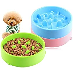 Pet Slow Feeder Bowl,Anti Choking Fun Feeder Non Toxic Bloat Stop Interactive Dog Feed Water Bowl Pet Interactive Fun Feeder, for Dogs Puppies Cats Kitties (Random Color)