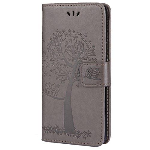 EUWLY Kompatibel mit Galaxy S7 Hülle Handyhülle Luxus Baum Eule Bookstyle LederHülle Ledertasche Schutzhülle Klappbar Handy Tasche Leder Flip Case Cover Mit Magnetverschluß,Grau