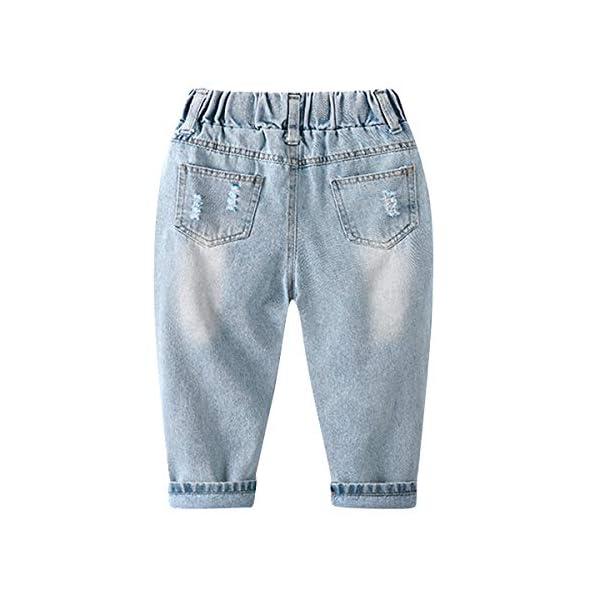 LAPLBEKE Bebé Niño Vaqueros Rotos Jeans Denim Rasgado Ripped Pantalones con Cintura Elástica Primavera Otoño 2