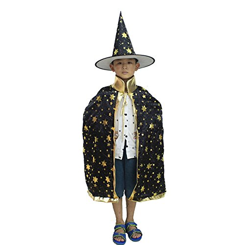 Jäger Kostüm Vampir Halloween (Eizur Kinder Halloween Umhang Hexe Zauberer Mantel kostüm Karneval Fasching Robe Pelerine Cape mit Hut für Halloween Party Weihnachten Cosplay -)