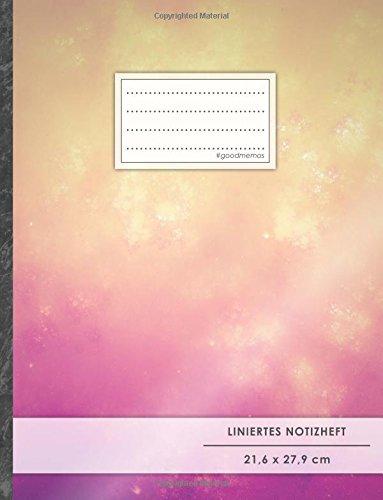 """Liniertes Notizbuch • A4-Format, 100+ Seiten, Soft Cover, Register, Mit Rand, """"Orange-Violett"""" • Original #GoodMemos Lined Notebook • Perfekt als Deutschheft, Schulheft, Übungsheft, Lineatur 27"""