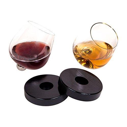 Einzigartige auslaufsicherem Spinning Aura Glas für Wein und Spirituosen mit Untersetzer (Set von 2)