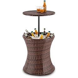 Blumfeldt Beerboy Mesa de jardín Enfriador Bebidas por Hielo (Ø50cm, 60L Capacidad, mesilla Exterior poliratán, Altura Regulable, Taburete Soporte Bebidas, Resistente Intemperie, Bicolor marrón)