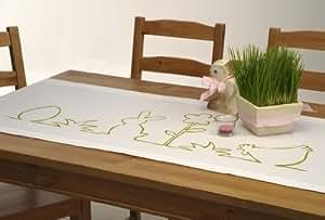 """Frischer Tischläufer """"FUNNY EASTER"""" in weiß mit originellem Ostermotiv in grün - Größe 50x140 - ein absoluter HINGUCKER - auch in der Farbe pink erhältlich - Frühling Ostern"""