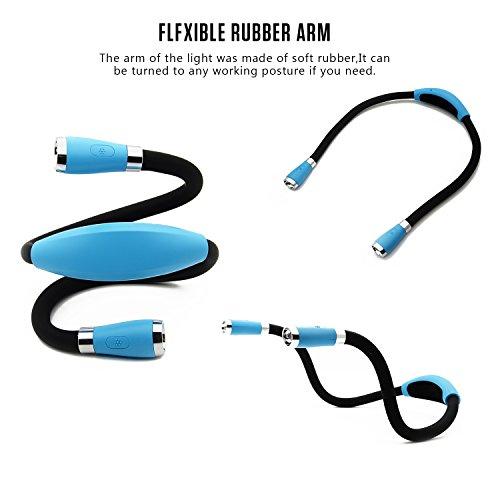 LUXJET Flexible llevó luz del libro de la abrazo lámpara de lectura de luz de la linterna cuello lectura  4 LED bombillas  3 brillo ajustable  USB recargable  para leer en la cama o coche (azul claro)