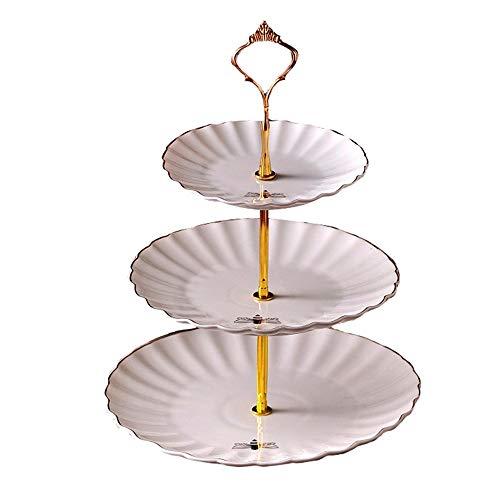 Kuchenständer Obstteller 3 Tier Keramik Tortenständer Relief Bienenmuster Hochzeit Obstteller Keramik Cupcake Für Kuchen Desserts Obst Süßigkeiten Buffet Stehen Für Hochzeit & Home & Birthday Party Na -