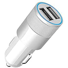 Aluminio 2puertos USB cargador de coche 2.1a para iphone 566Plus iPad 2345Samsung Galaxy S4S5Blanco
